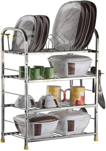 Daaduji Stainless Steel 4 Layer Shelf Wall Mount Kitchen Dish Rack | Utensils Rack with Plate & Cutlery Stand | Modular Kitchen Storage Rack | Kitchen Organizer (24 X 18 Inch) Made In India Utensil Kitchen Rack