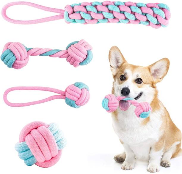 THE DDS STORE Dog Rope Toy,Interactive Pet Chew Toys Set,Washable Braided Cotton Teeth Cleaning Chewers for Puppies,Small,Medium and Large Dogs Durable Teething Ropes,Tug of War Ball Training Playing, MULTI-COLOR for Small/Medium Dogs(4 Pcs) Cotton Ball, Chew Toy, Tough Toy, Fetch Toy, Training Aid, Tug Toy For Dog