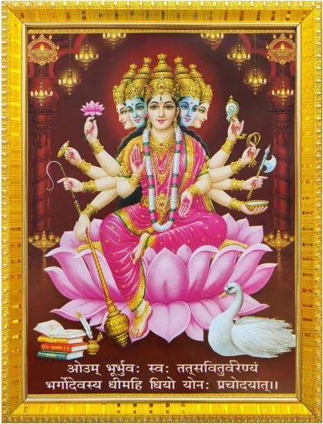 koshtak Gayatri mata on Lotus with gayatri Mantra Laminated Poster Religious Frame