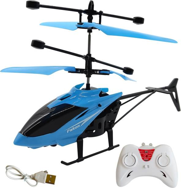 Miss & Chief Infrared Induction Helicopter Sensor Aircraft USB Charger 2 in 1 Flying Helicopter with Remote Control