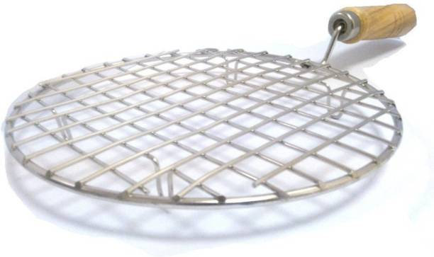 Legion ROUND Stainless Steel Wire Roster Barbecue Grill Roti Papad Chapati Toast brinjal Chicken paneer tandoor (baingan) Wooden Handle Stainless Steel net Roaster 1 kg Roaster