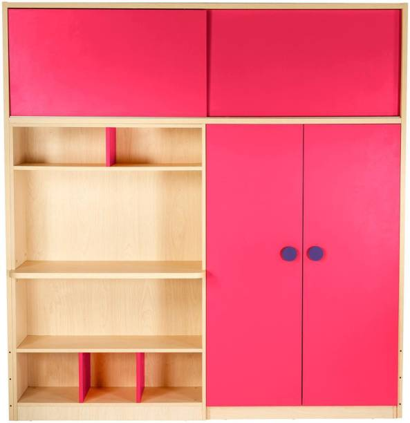 Yipi Optima Storage Supreme Wardrobe And Study Table in Pink by YiPi Engineered Wood 2 Door Wardrobe