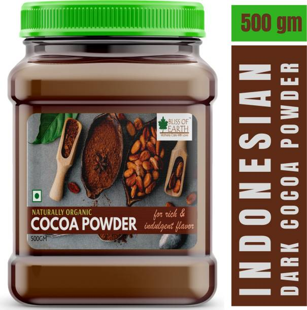 Bliss of Earth 500gm Dark Cocoa Powder For Chocolate Cake & Milk Shake, Rich Indulgent Flavour Cocoa Powder