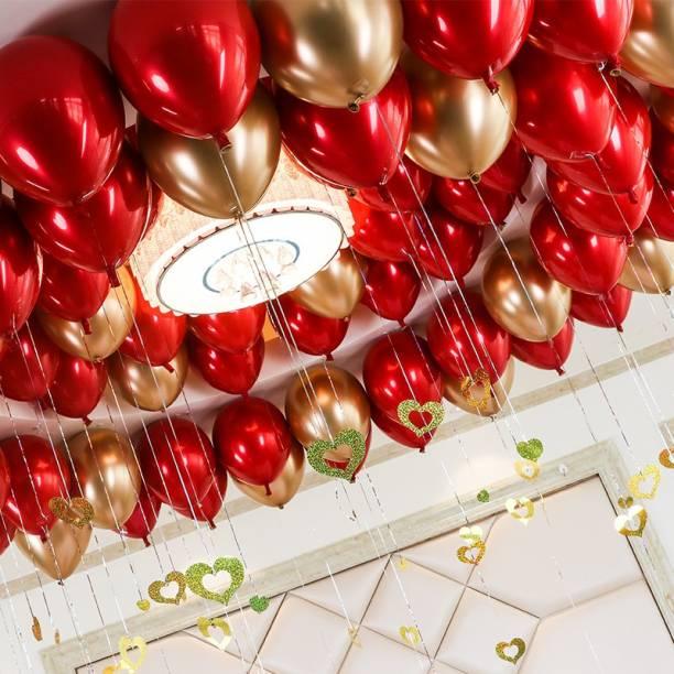 TNDECORLY Solid Solid HD Metallic Red & Golden balloons (50 Pcs) Balloon Balloon