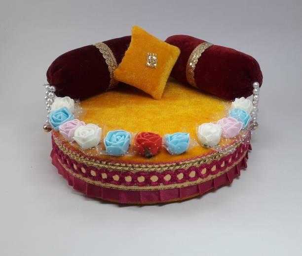 R D Handicraft R D Handicraft Thakur ji Singhasan, Laddu Gopal ji Singhasan, Bal Gopal ji Singhasan Usable 0 to 3 no Laddu Gopal ji Silk All Purpose Chowki