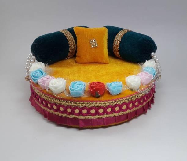 R D Handicraft Thakur ji Singhasan, Laddu Gopal ji Singhasan, Bal Gopal ji Singhasan Usable 4 to 7 no Laddu Gopal ji Silk All Purpose Chowki