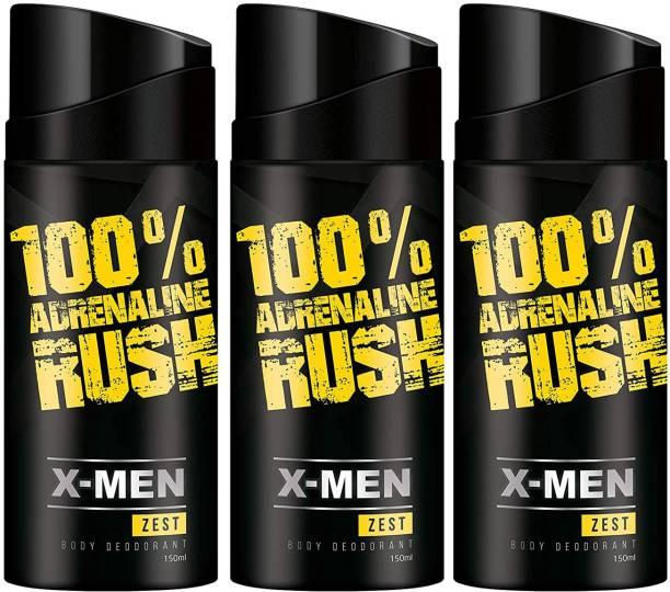X-Men 100% Adrenaline Rush Zest Deodorant Spray - For Men 150ml (Pack of 3) Deodorant Spray  -  For Men
