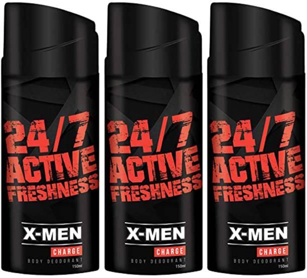 X-Men 24/7 Active Freshness & 100% Adrenaline Charge Deodorant Spray - For Men 150ml (Pack of 3) Body Spray  -  For Men & Women
