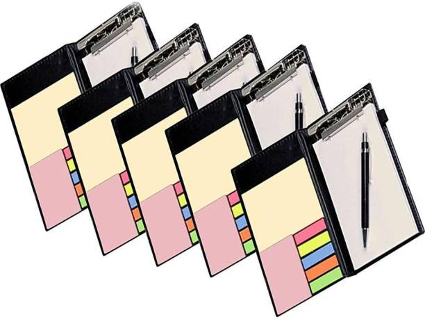 DALUCI Memo Note Pad/Memo Note Book with Sticky Notes & Clip Holder in Diary Style A5 Note Pad Soft Bound 50 Pages