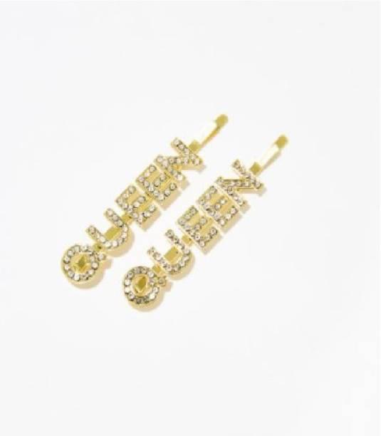 DENICRAAS Designer Stylish Rhinestones Crystal QUEEN Queen Letter Hair Pins for Girls & Women| Wedding Hair Occasion Party Wear Hair Clip