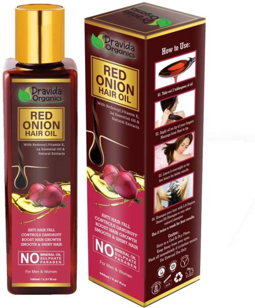 Dravida Organics Red onion Hair Oil with Keratin Protein, Nourishes hair follicles, Anti-Hair loss & Regrowth Hair Oil