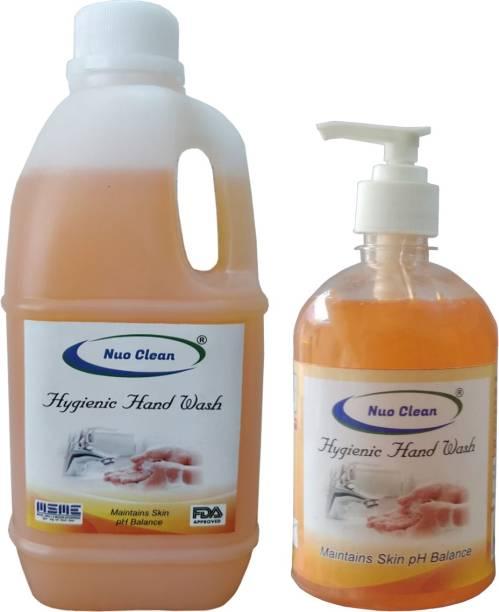 nuo clean Anti-Bacterial Hand Wash Combo   Hygienic Original  1L Refill + 500ml Pump Dispenser Bottle Hand Wash Pump + Refill
