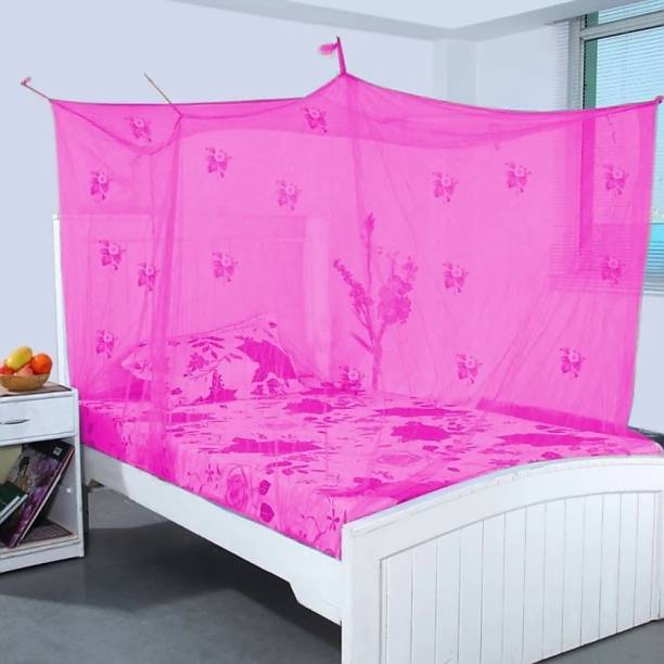 SHIVHANDICRAFT HDPE - High Density Poly Ethylene Adults Cotton Adults Printed High Quality Single Bed Mosquito net to protect Various Insects Mosquito Net (Multicolor) Mosquito Net