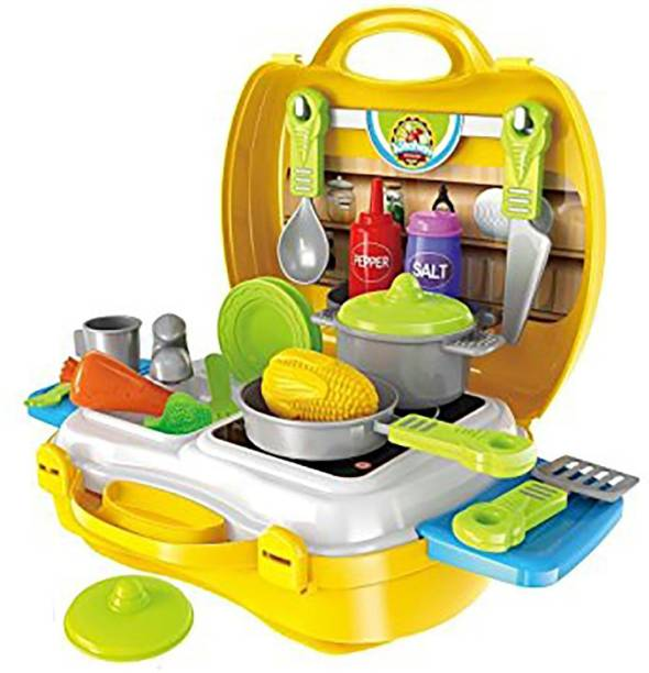 Hum Enterprise 26 Pcs Suitcase Kitchen Play Set For Interactive Kitchen Learning For Kids (Yellow)