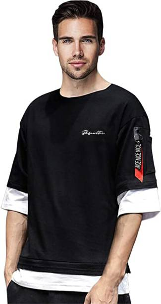 Patche Color Block Men Round Neck Black, White T-Shirt