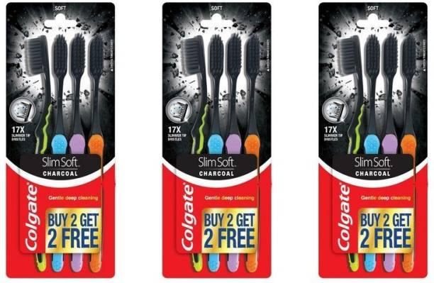Colgate Slim Soft Charcoal Toothbrush (Buy 2 Get 2 Free) -3Pcs (Pack of 4) Soft Toothbrush (12 Toothbrushes) Ultra Soft Toothbrush