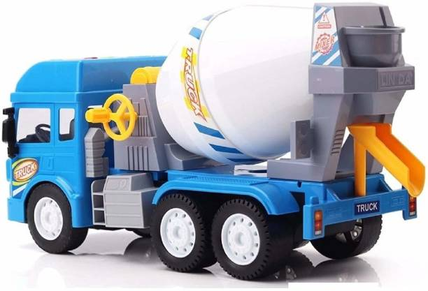 GREAT WORK Friction Powered cement mixer toy Construction Unbreakable Plastic jcb Truck with Light & Sound Engineering Car Toys Large Concrete Mixer Model for Kids Toy Gift