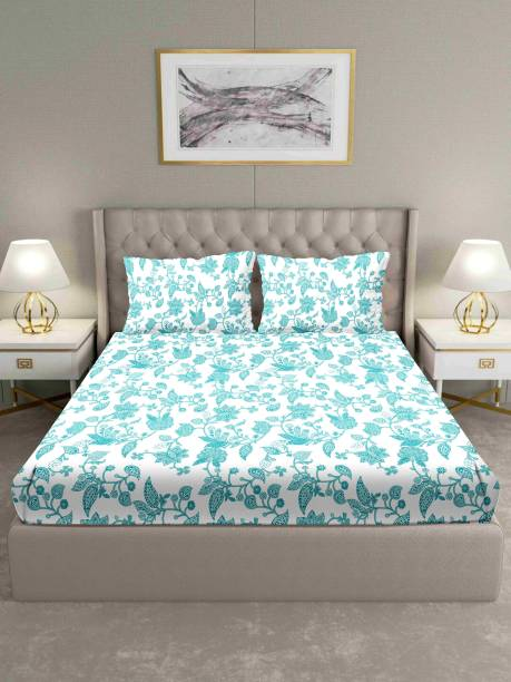 BELLA CASA 160 TC Cotton Double King Floral Bedsheet