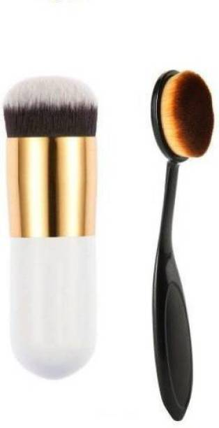 marchid Professional Foundation Brush and Oval Foundation Brush pack of 2 (Pack of 2)