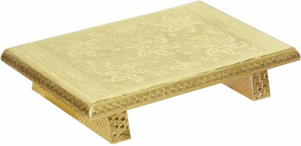 JaipurCrafts Wooden Brass Golden Rajwadi Chowki/Patla Wooden All Purpose Chowki