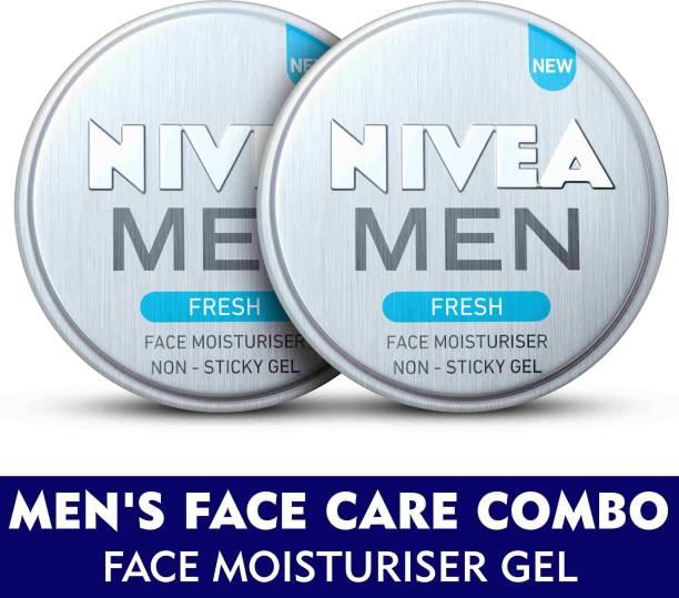 NIVEA MEN Grooming Kit, Fresh Face Moisturizer Gel 75 ml (Pack of 2)