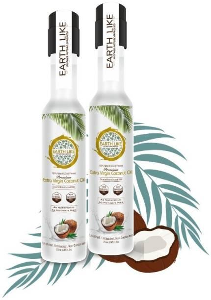 Earth Like Extra Virgin coconut oil 250ml (pack of 2) Coconut Oil PET Bottle