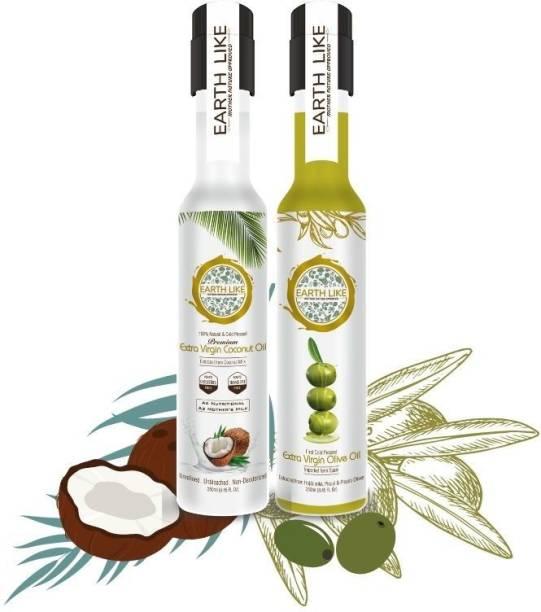 Earth Like Extra Virgin coconut oil / Extra Virgin Olive oil - 250 ml(pack of 2) Coconut Oil PET Bottle