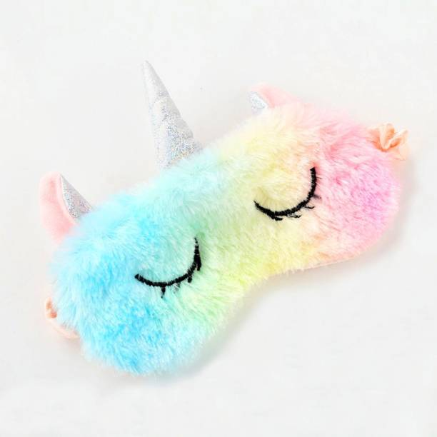 komto Unicorn Plush Sleep Mask Cute Animal Rest Eye Mask Elastic Band Sleeping Eye Cover for Girls, Pack of 1