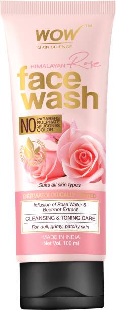 WOW SKIN SCIENCE Himalayan Rose  Tube - for Cleansing & Toning - Infused with Rose Water & Beetroot Extract - for All Skin Types - No Parabens, Sulphates, Silicones & Color - 100mL Face Wash