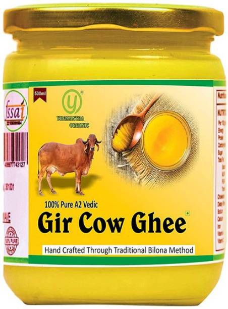 YUGMANTRA ORGANIC Pure Desi A2 Gir Cow Ghee ( 500 ml ) 500 ml Glass Bottle