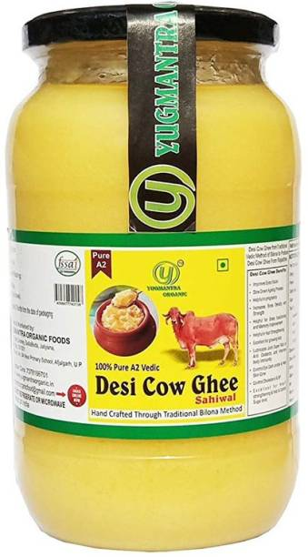 YUGMANTRA ORGANIC Pure A2 Desi Sahiwal Cow Ghee ( 1000 ml ) 1000 ml Glass Bottle