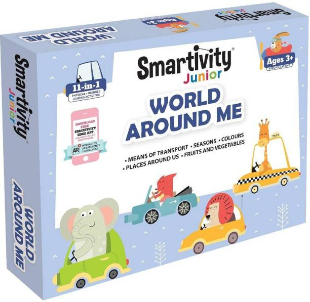 Smartivity Junior World Around Me Pre-School STEAM Learning Educational Toy Art & Craft Play 11 in 1 Activity Kit Gift Box 2 - 5 yrs Toddler Baby Augmented Reality Colouring FREE APP Interactive Flash Cards - multicolor