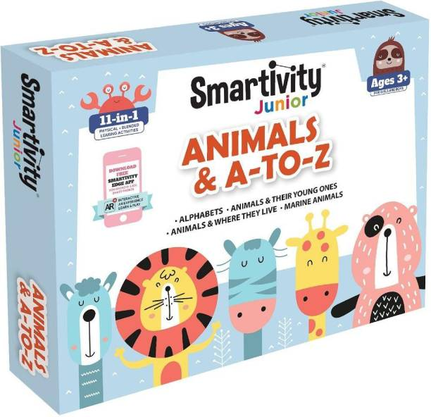 Smartivity Junior Animals & A-to-Z Pre-School STEAM Learning Educational Toy Art & Craft Play 11 in 1 Activity Kit Gift Box 2 - 5 yrs Toddler Baby Augmented Reality Coloring FREE APP Interactive Flash Cards - multicolor