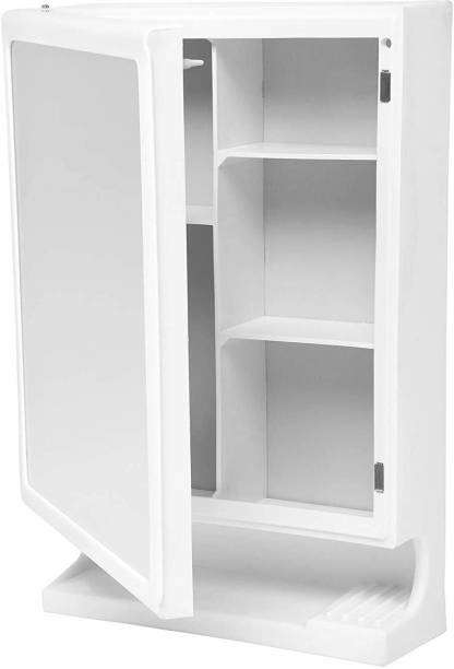 urban desires Bathroom Cabinet with Mirror Plastic Strong and Heavy New Look 6 Shelves Storage Organiser and Shelf, 22 x 14 inches, White Plastic Wall Shelf