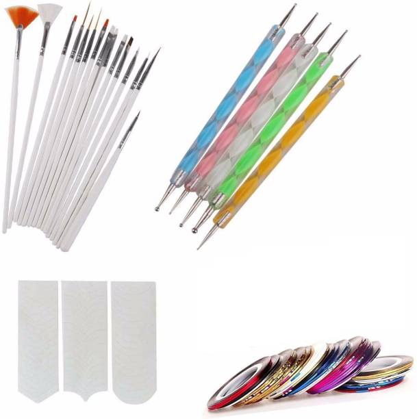 TREXEE Nail Art Kit ,Nail Art Pen Set of 5,15pc Nail Brush Set, 10pc Stripping Roll Tape And A French Manicure Nail Art Tip Sticker