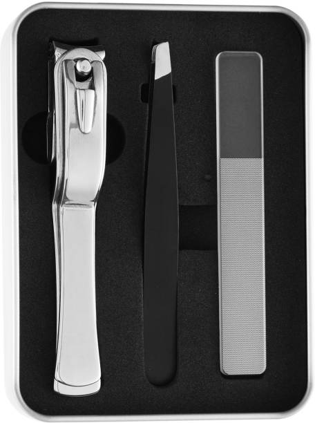 Beauté Secrets Nail Clipper/Nail Cutter, Nail Filer, Sharp Tweezers Nail Clipper Set for Men & Women, Travel Nail Care Kit with Black Stainless-Steel