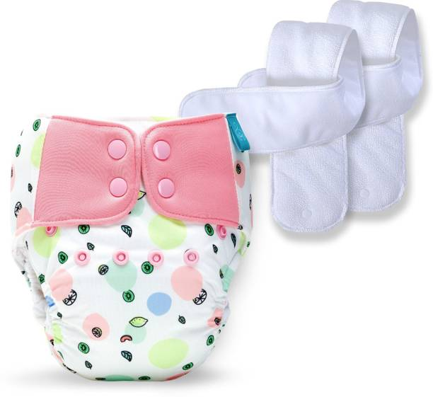 bumberry Baby Pocket Diaper 2.0- Waterproof Reusable & Adjustable Cloth Diaper with leg gusset, wetfree lining & 2 extralong wetfree Inserts (6 -36 months, Fruityline)
