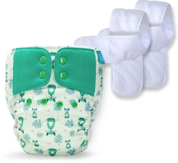 bumberry Baby Pocket Diaper 2.0- Waterproof Reusable & Adjustable Cloth Diaper with leg gusset, wetfree lining & 2 extralong wetfree Inserts (6 -36 months,Fuzzy fox)
