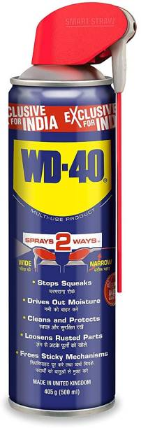WD40 WD 40, 500 ml Multipurpose Smart Straw Spray, for Auto Maintenance, Home Improvement, Loosens Stuck & Rust Parts, Removes Sticky Residue, Descaling, Protectant & Cleaning Agent for Multi Use Rust Removal Aerosol Spray