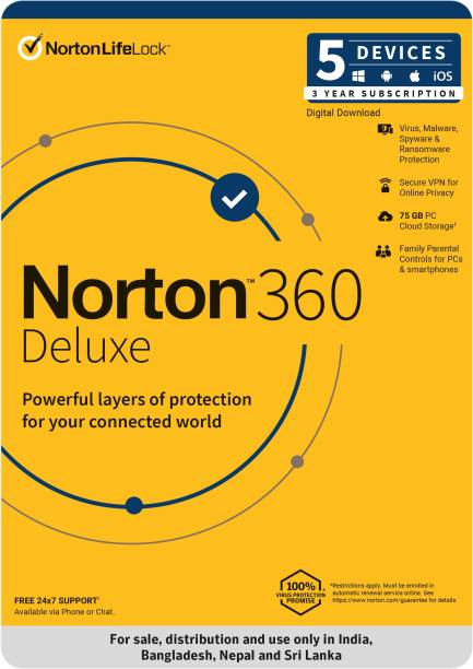Norton 360 Deluxe 5 PC 3 Year Total Security (Physical Sleeve)  (Standard Edition)