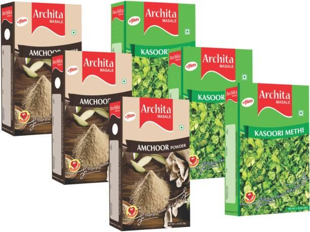 Archita Amchoor Powder(50g x 3) & Kasoori Methi(50g x 3) Pack of 6