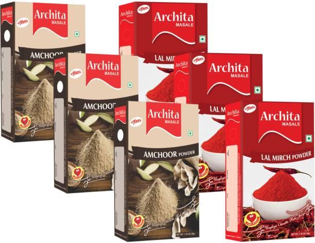 Archita Amchoor Powder(50g x 3) & Lal Mirch Powder(50g x 3) Pack of 6