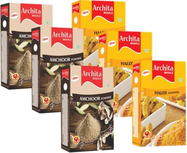 Archita Amchoor Powder(50g x 3) & Haldi Powder(50g x 3) Pack of 6