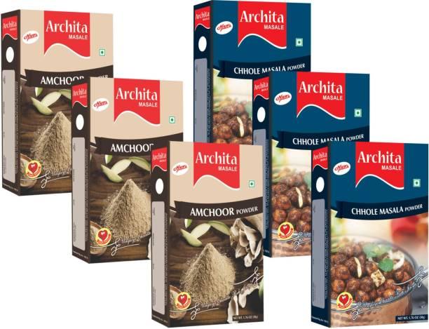 Archita Amchoor Powder(50g x 3) & Chhole Masala Powder(50g x 3) Pack of 6