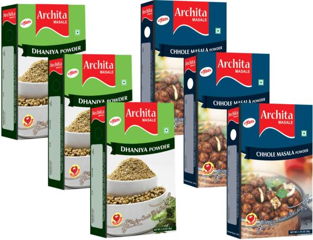 Archita Dhaniya Powder(50g x 3) & Chhole Masala Powder(50g x 3) Pack of 6