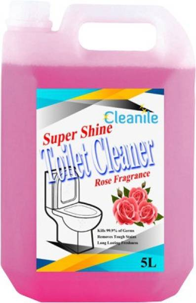 Cleanile Ultrashine Toilet Cleaner -10X Extra Strong Extra Clean-5Ltr. Rose Fragrance Rose Liquid Toilet Cleaner