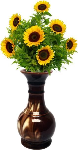 Wauood Ceramic Flower Vase, Table Vase for Living Room Indoor Home Decor, Wedding Centerpieces/Arrangements Flower Pot 7.5 Inch Ceramic Vase