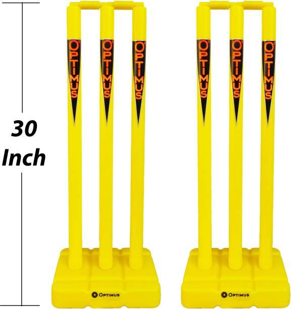 Optimus Full Size Cricket Plastic Stump Set 30 Inch Heavy - 6 Stumps 2 Base & 4 Bails