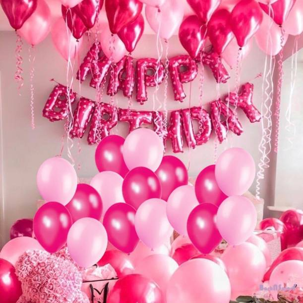 Bash N Splash Solid Pink Happy Birthday Party Decoration Pack With Metallic Pink & Rani pink magenta Balloon (Pack of 43) Balloon