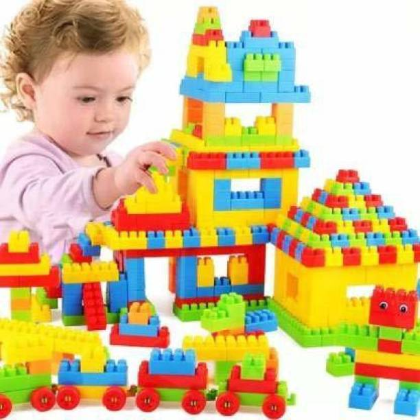 Kids creation 100 Pcs Building Blocks Shapes |Puzzles,Skill Development,Hand Eye cordination, Non-Toxic | Brain Building |Creative |Learning |Educational | Toy
